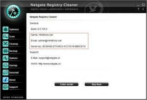 NETGATE Registry Cleaner activation key